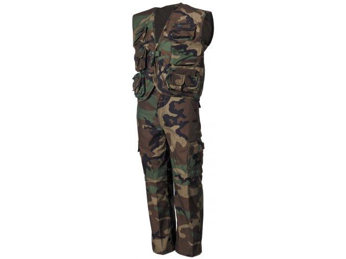 Dětská uniforma woodland vesta a kalhoty s odnímatelnými nohavicemi