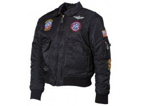 """US dětská bunda """"bomber"""" CWU černá s leteckými nášivkami"""