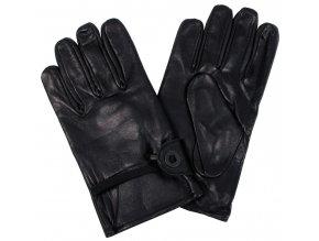 Westernové rukavice černá kožené zateplené